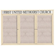 3 Door Outdoor Illuminated Enclosed Bulletin Board with Header and Ivory Powder Coated Aluminum Frame - 48