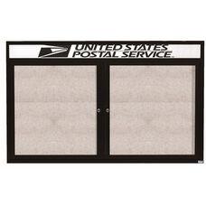 2 Door Outdoor Illuminated Enclosed Bulletin Board with Header and Black Powder Coated Aluminum Frame - 36