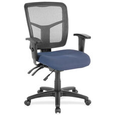Lorell Black Mesh Mid-back Managerial Chair with Adjustable Arms and Blue Mesh Seat