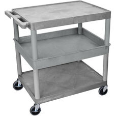 Heavy Duty Multi-Purpose Large Mobile Utility Cart with 2 Flat Shelves and 1 Tub Shelf - Gray - 32