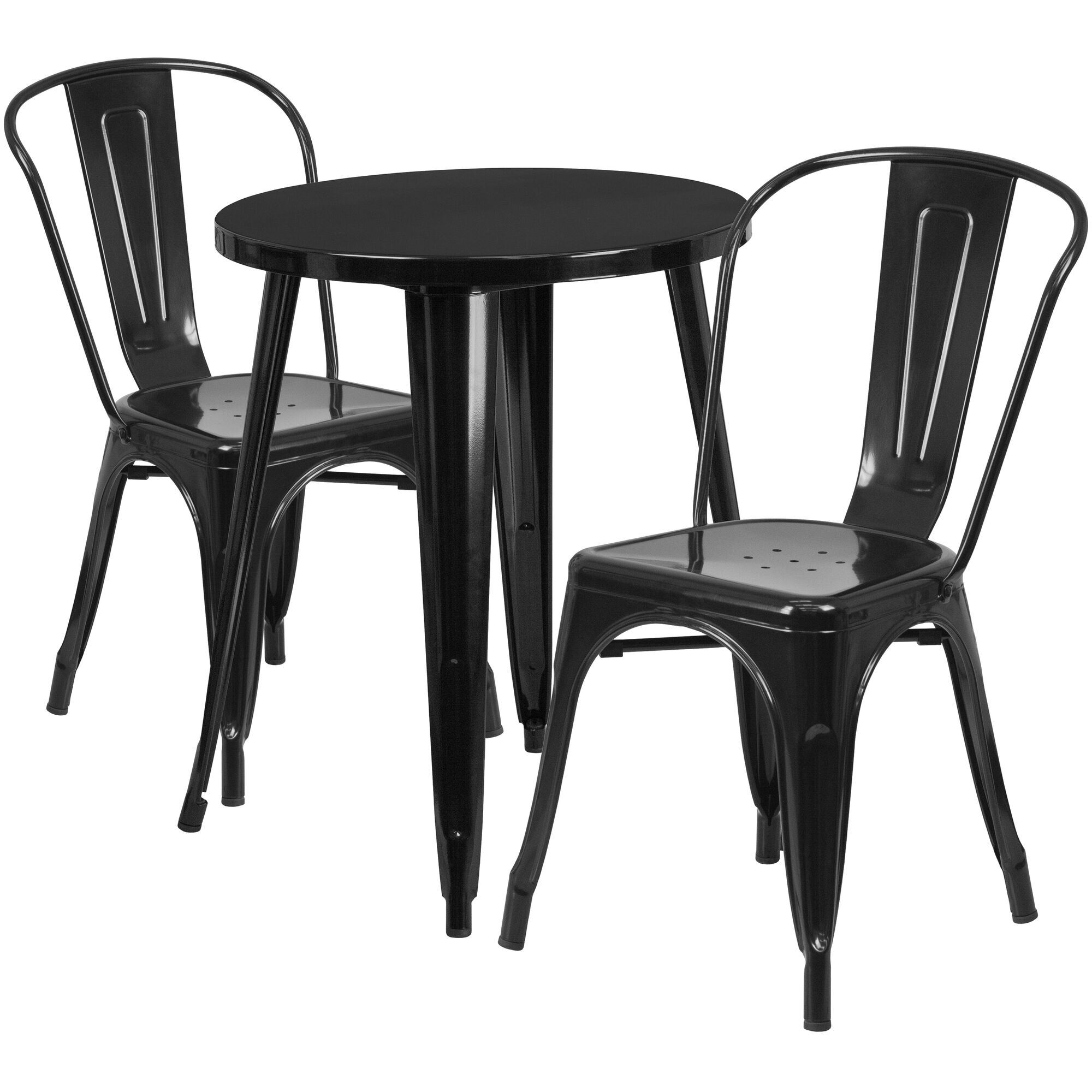 Commercial Grade 24 Round Black Metal Indoor Outdoor Table Set With 2 Cafe Chairs