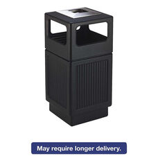 Safco® Canmeleon Ash/Trash Receptacle - Square - Polyethylene - 38gal - Textured Black