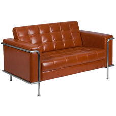 HERCULES Lesley Series Contemporary Cognac Leather Loveseat with Encasing Frame