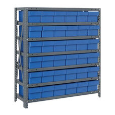 7 Shelf Open Unit with 36 Drawers - Blue