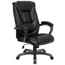 High Back Black Leather Layered Upholstered Executive Swivel Ergonomic Office Chair with Smoke Metal Base and Arms
