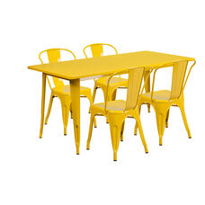 "Commercial Grade 31.5"" x 63"" Rectangular Yellow Metal Indoor-Outdoor Table Set with 4 Stack Chairs"