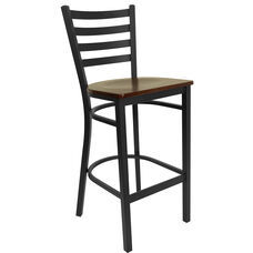 Black Ladder Back Metal Restaurant Barstool with Mahogany Wood Seat