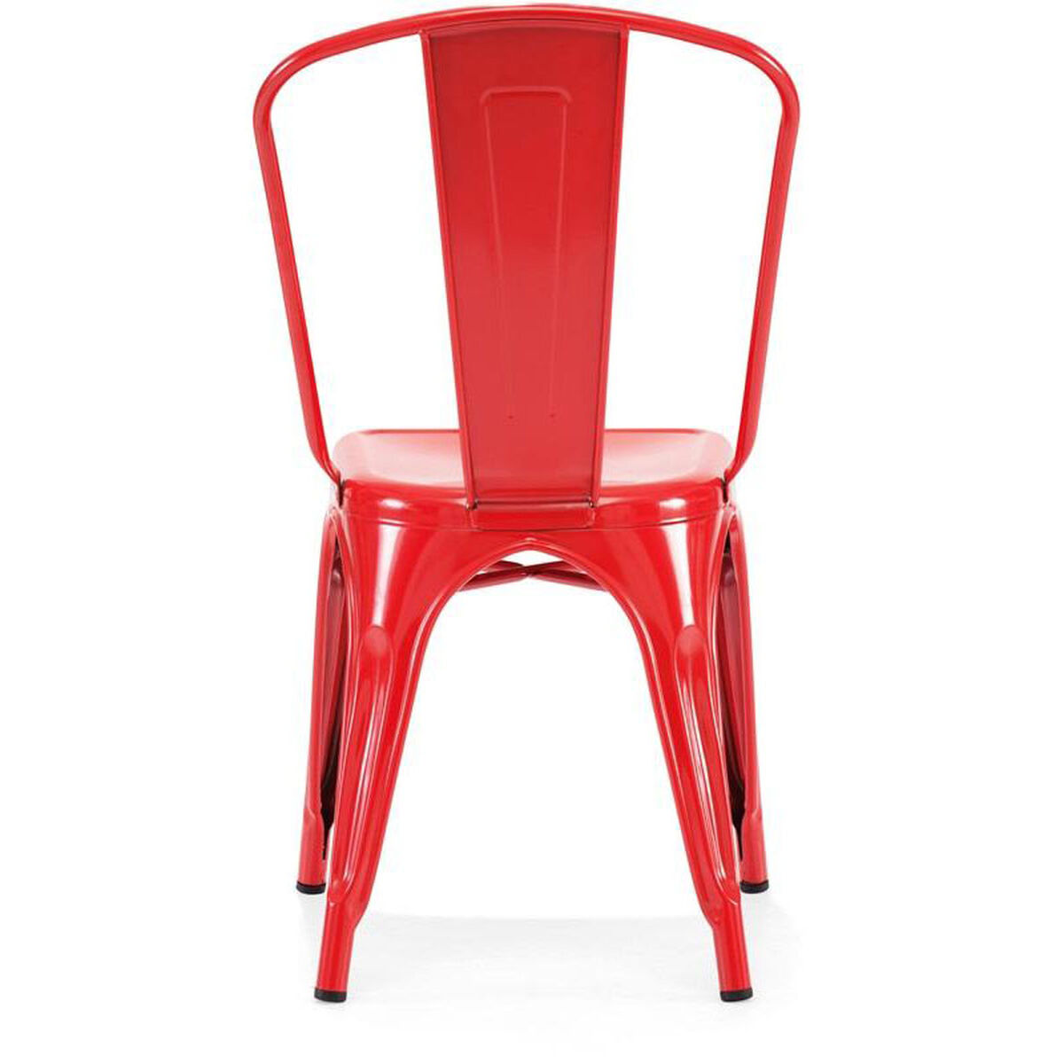 Dreux Stackable Glossy Red Steel Side Chair Set Of 4