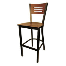 Mahogany Wood Back Metal Barstool with 3 Slats in Back