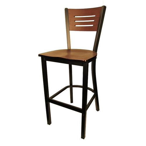 Our Mahogany Wood Back Metal Barstool with 3 Slats in Back is on sale now.