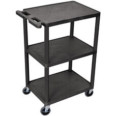 3 Shelf Structural Foam Plastic Utility Cart - Black - 24