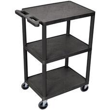 3 Shelf Structural Foam Plastic Utility Cart - Black - 24''W x 18''D x 43''H