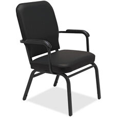 Lorell Black Vinyl Oversize Stacking Armchair with 500lb Capacity - Set of 2