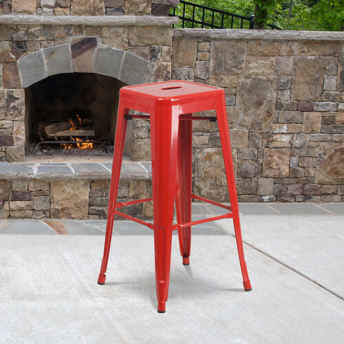 """Our Commercial Grade 30"""" High Backless Red Metal Indoor-Outdoor Barstool with Square Seat is on sale now."""
