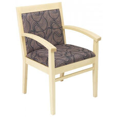 Tea Indoor Office Chair with Tobacco Pattern Fabric Seat and Back - Natural Wood Finish