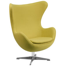 Citron Wool Fabric Egg Chair with Tilt-Lock Mechanism