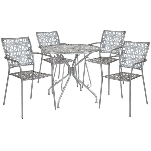 "Our Agostina Series 31.5"" Round Antique Silver Indoor-Outdoor Steel Patio Table with 4 Stack Chairs is on sale now."