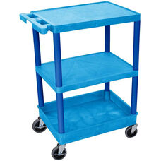 Heavy Duty Multi-Purpose Mobile Utility Cart with 2 Flat Shelves and 1 Tub Shelf - Blue - 24