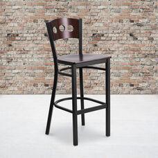 Black Decorative 3 Circle Back Metal Restaurant Barstool with Walnut Wood Back & Seat