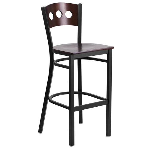 Our Black Decorative 3 Circle Back Metal Restaurant Barstool with Walnut Wood Back & Seat is on sale now.
