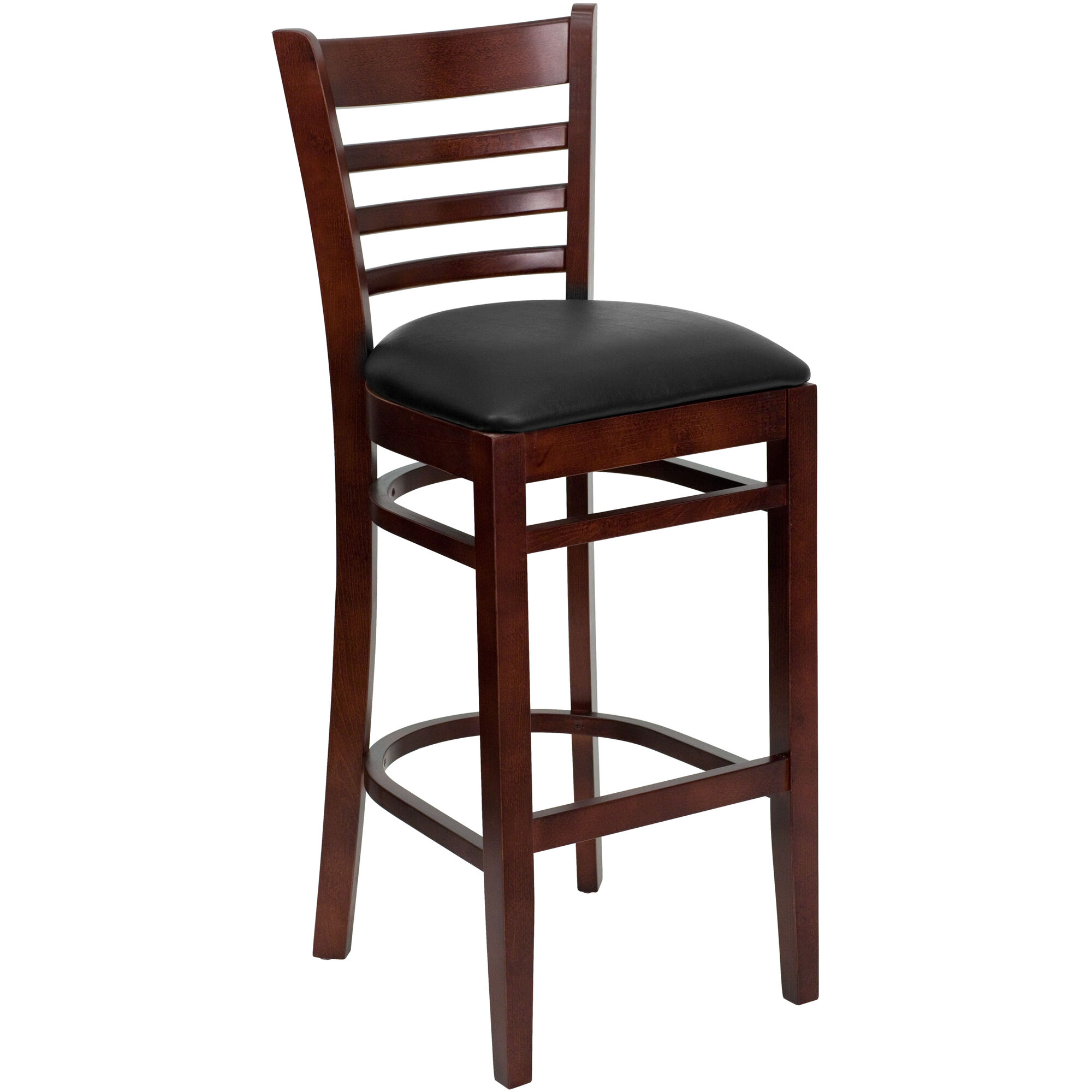 6ff03a97cde Mahogany Finished Ladder Back Wooden Restaurant Barstool with Black Vinyl  Seat