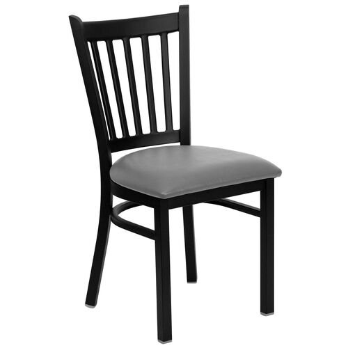 Our Black Vertical Back Metal Restaurant Chair with Custom Upholstered Seat is on sale now.
