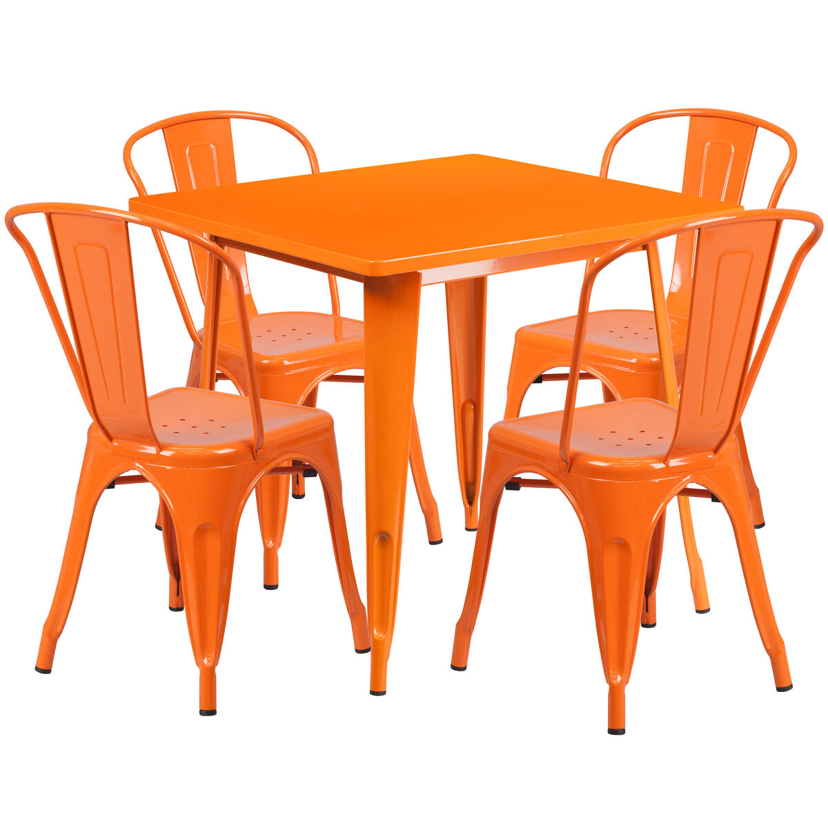 outdoor stack chairs. Flash Furniture 31.5\u0027\u0027 Square Orange Metal Indoor-Outdoor Table Set With 4 Stack Chairs ET-CT002-4-30-OR-GG | RestaurantFurniture4Less.com Outdoor