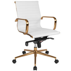Mid-Back White Ribbed Leather Executive Swivel Office Chair with Gold Frame, Knee-Tilt Control and Arms