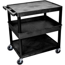 Heavy Duty Multi-Purpose Large Mobile Utility Cart with 2 Flat Shelves and 1 Tub Shelf - Black - 32