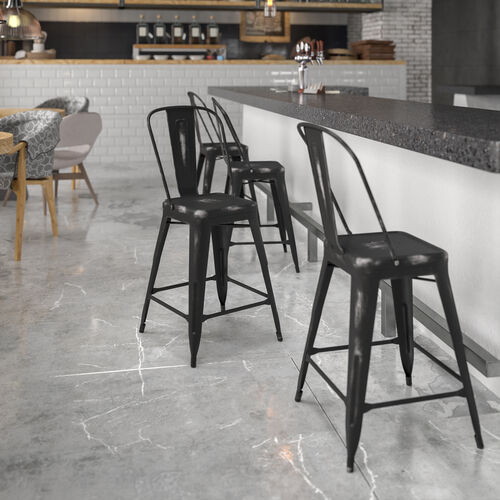 """Commercial Grade 24"""" High Distressed Black Metal Indoor-Outdoor Counter Height Stool with Back"""