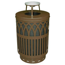 40 Gallon Covington Galvannealed Steel Ash Top Can with Plastic Liner - Brown