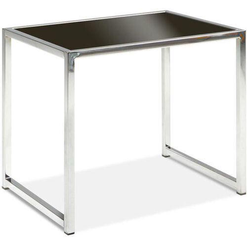 Our Ave Six Yield Tempered Glass End Table with Chrome Finished Steel Base - Black is on sale now.