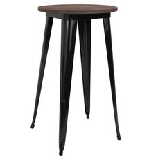 "24"" Round Black Metal Indoor Bar Height Table with Walnut Rustic Wood Top"