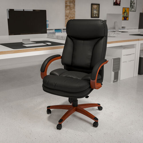 High Back Black LeatherSoft Executive Ergonomic Office Chair with Synchro-Tilt Mechanism, Mahogany Wood Base and Arms