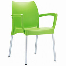 Dolce Outdoor Resin Stackable Arm Chair with Aluminum Legs - Apple Green