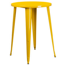 "Commercial Grade 30"" Round Yellow Metal Indoor-Outdoor Bar Height Table"