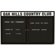 2 Door Outdoor Enclosed Directory Board with Header and Black Anodized Aluminum Frame - 48