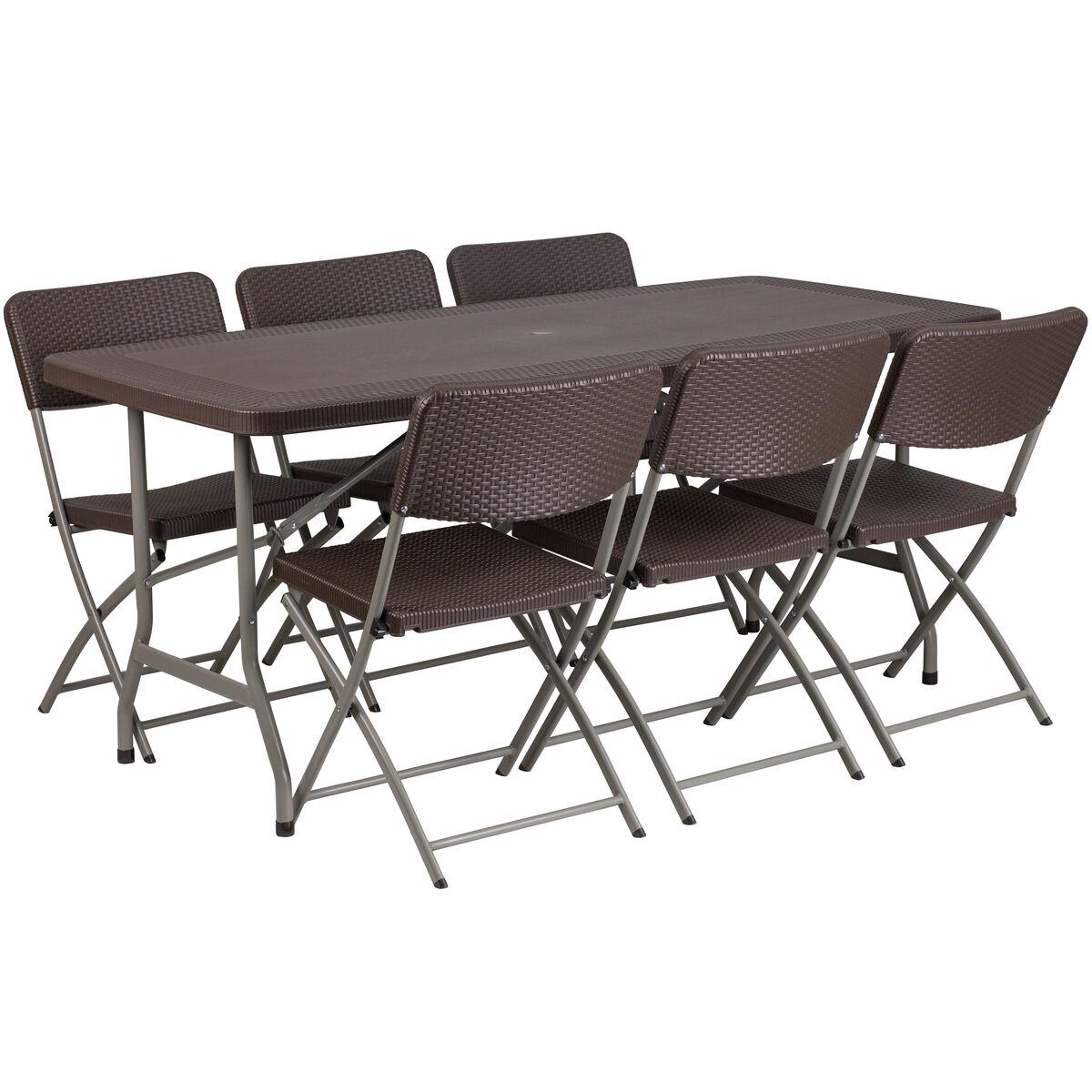 Brown rattan table set dad ycz gg