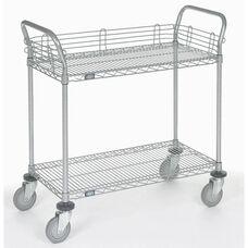 Chrome 2 Shelf Utility Cart-Polyurethane Casters - 18