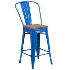 "24"" High Blue Metal Counter Height Stool with Back and Wood Seat"