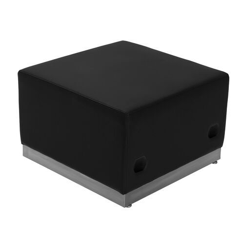 HERCULES Alon Series Black LeatherSoft Ottoman with Brushed Stainless Steel Base