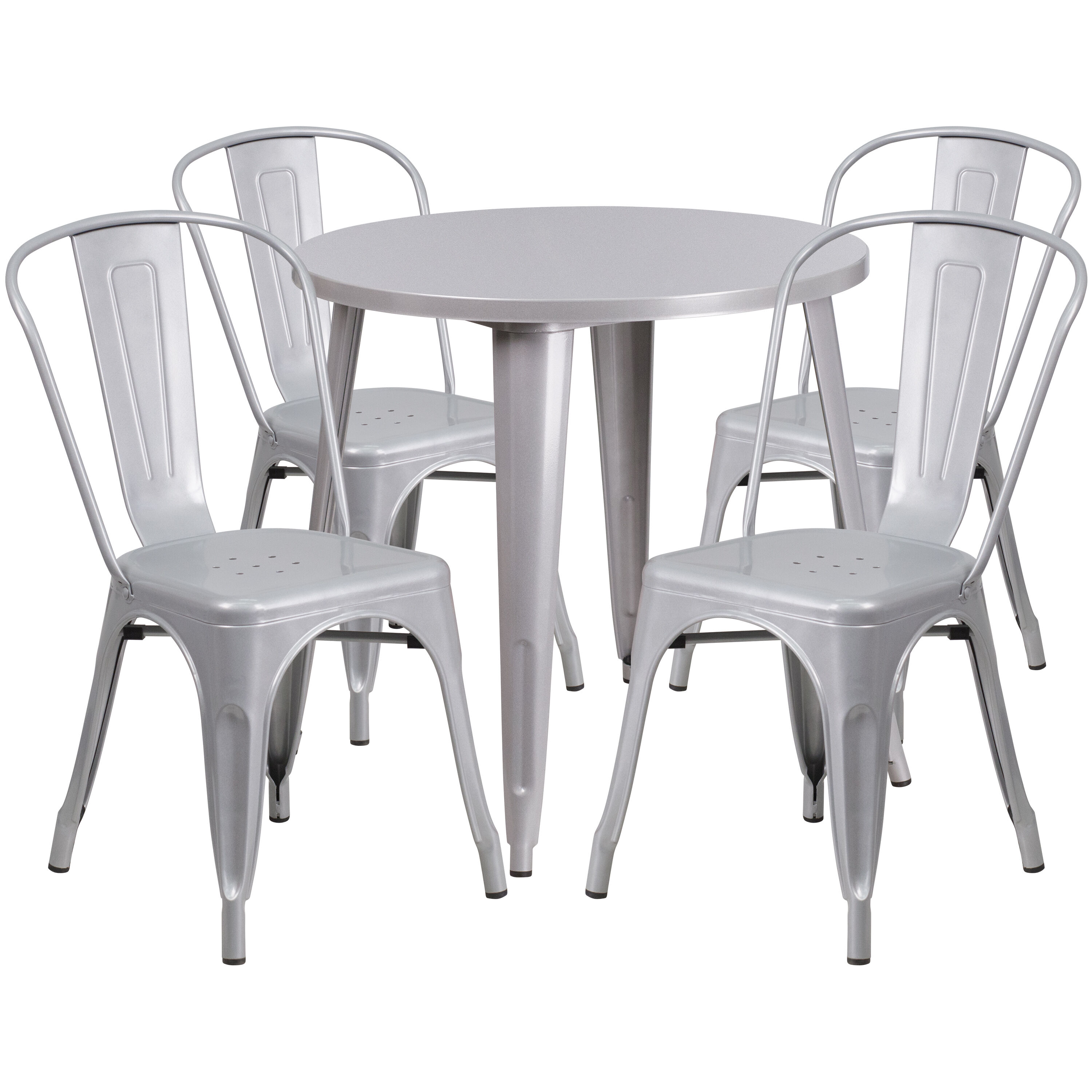 Etonnant ... Our 30u0027u0027 Round Silver Metal Indoor Outdoor Table Set With 4 Cafe Chairs