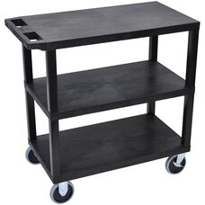 Molded Thermoplastic Resin 3 Flat Shelf Utility Cart with Flat Top Shelf and 5
