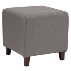 Ascalon Upholstered Ottoman Pouf in Light Gray Fabric