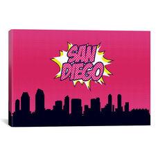 Comic Book Skyline Series: San Diego by Octavian Mielu Gallery Wrapped Canvas Artwork - 40