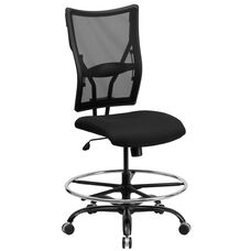 HERCULES Series Big & Tall 400 lb. Rated Black Mesh Ergonomic Drafting Chair