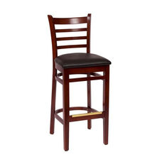 Burlington Mahogany Wood Ladder Back Barstool - Vinyl Seat