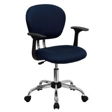 Mid-Back Navy Mesh Padded Swivel Task Office Chair with Chrome Base and Arms