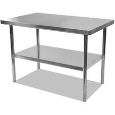 Alera® Rectangular Stainless Steel Table with Storage Shelf - 60