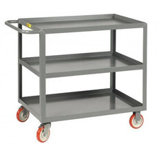Welded Service Cart With 3 Lipped Shelves